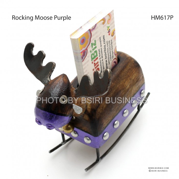 Rocking moose card holder wooden handmade iron craft colourmoves