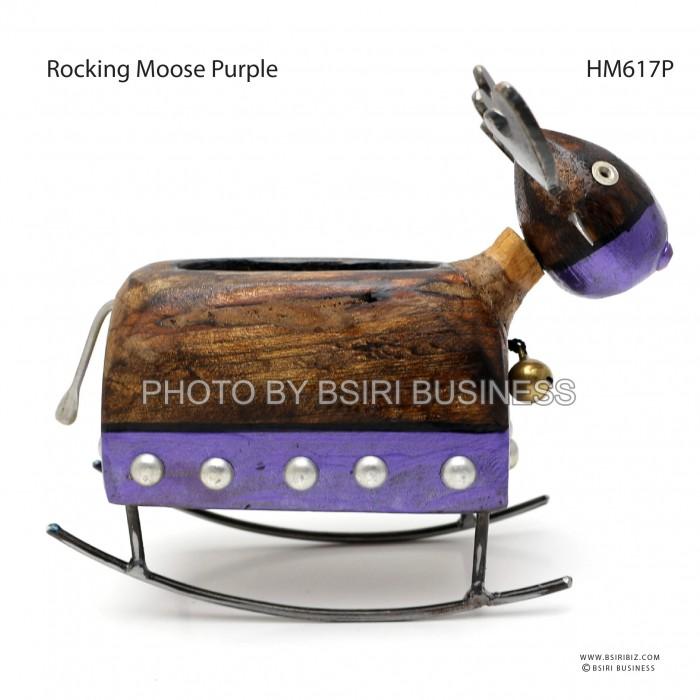 Rocking Moose Card holder Wooden Handmade Iron Craft