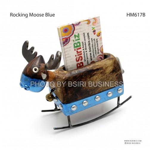 Rocking moose card holder wooden handmade iron craft rocking moose card holder blue colourmoves